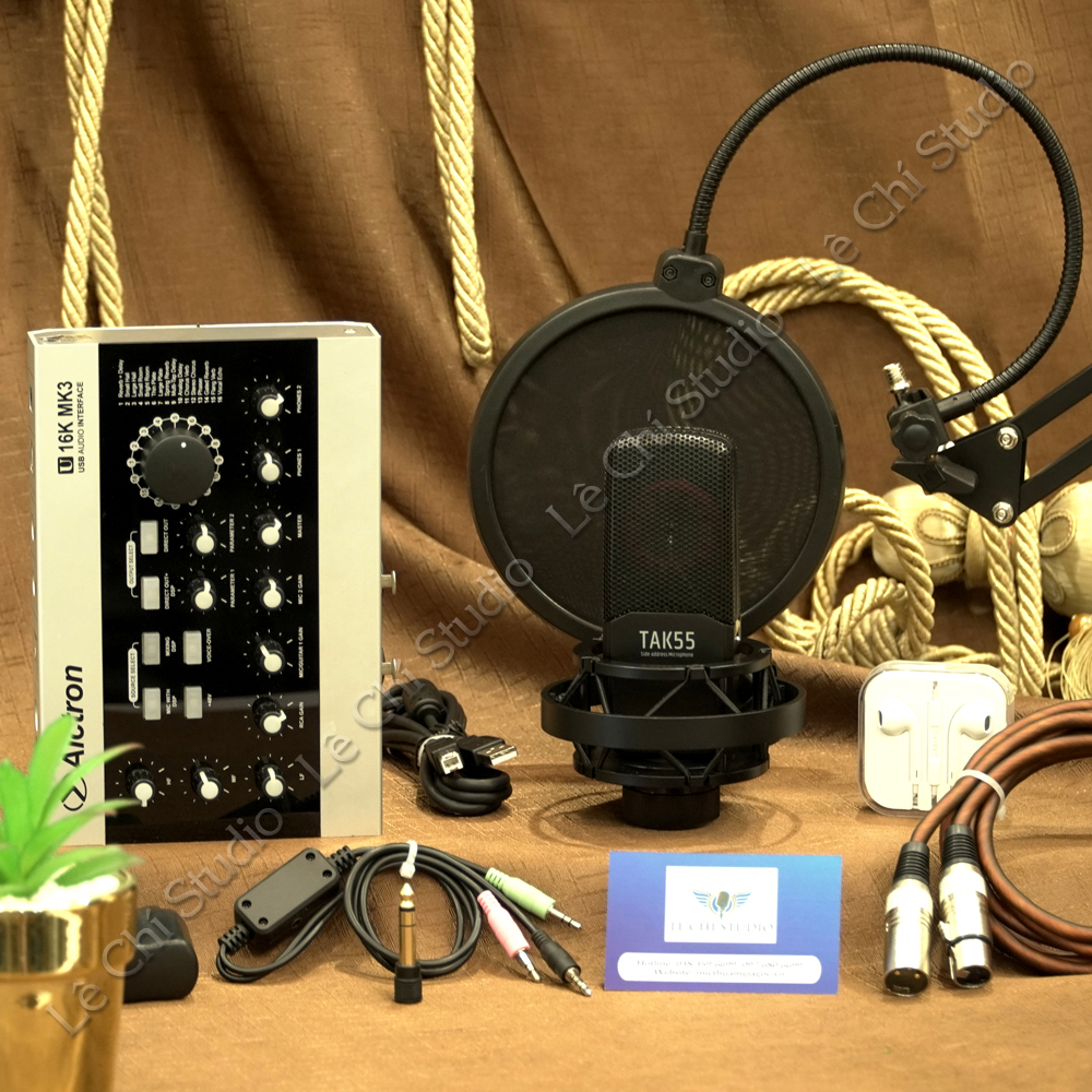 Combo Micro Thu Âm Takstar TAK55 + Soundcard U16K MK3 Full Phụ Kiện - Giá 6.290K
