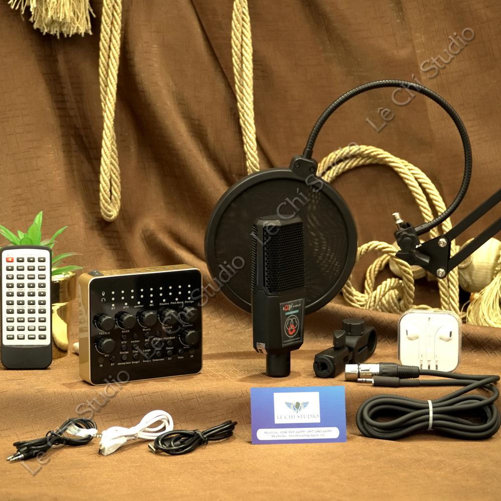 Combo Micro Thu Âm AQTA ALC280 + Soundcard V10 Full Phụ Kiện - Giá 1.090K
