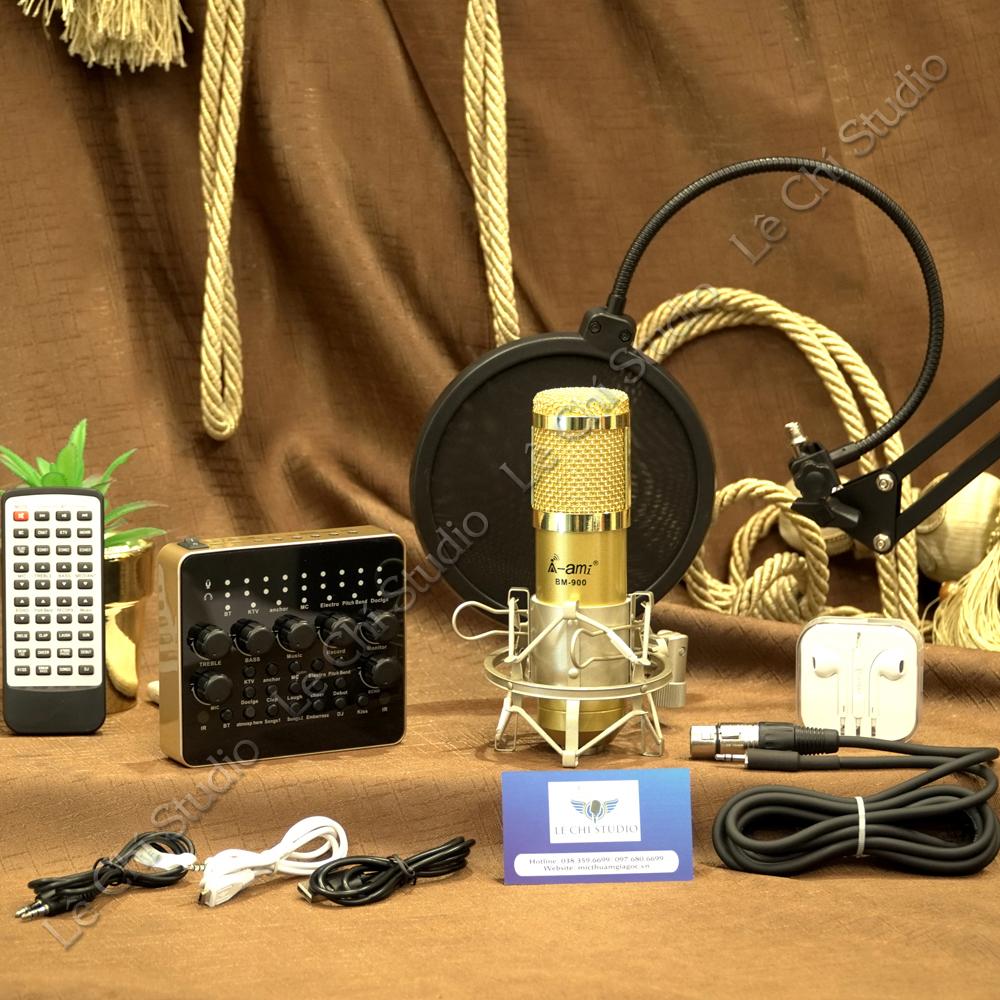 Combo Micro Thu Âm Ami Bm900 + Soundcard V10 Full Phụ Kiện - Giá 1.190K