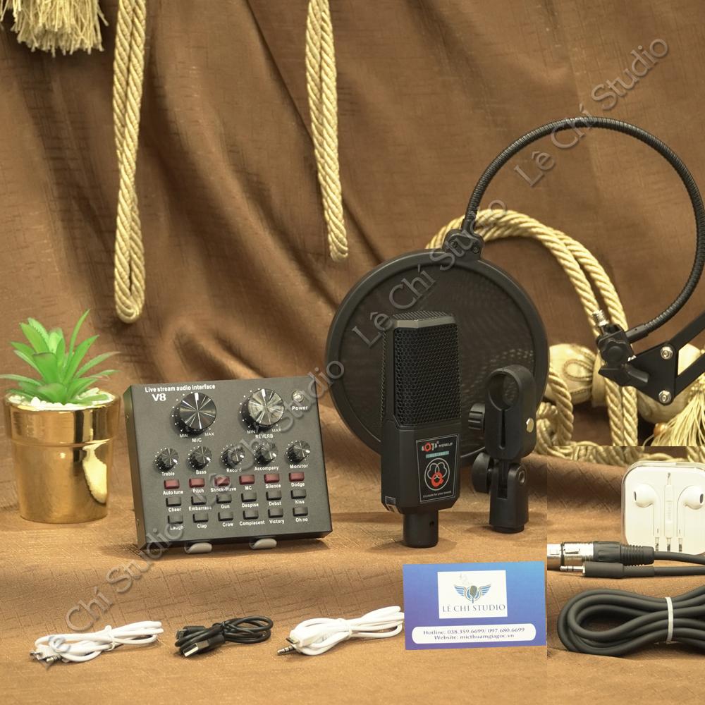 Combo Micro Thu Âm ALC280 + Soundcard V8 Full Phụ Kiện - Giá 950K