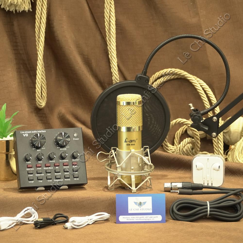Combo Micro Thu Âm Ami Bm900 + Soundcard V8 Full Phụ Kiện - Giá 1050K