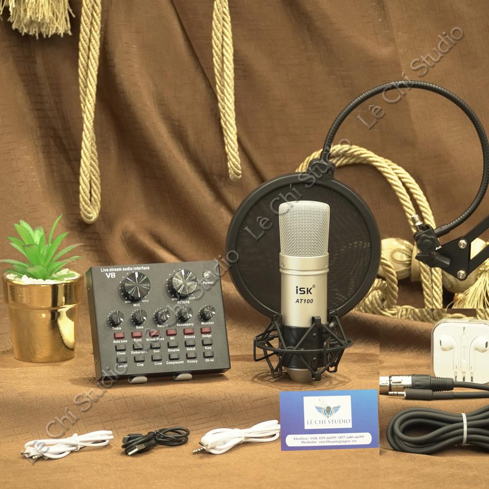 Combo Micro Thu Âm AT100 + Soundcard V8 Full Phụ Kiện - Giá 1190K