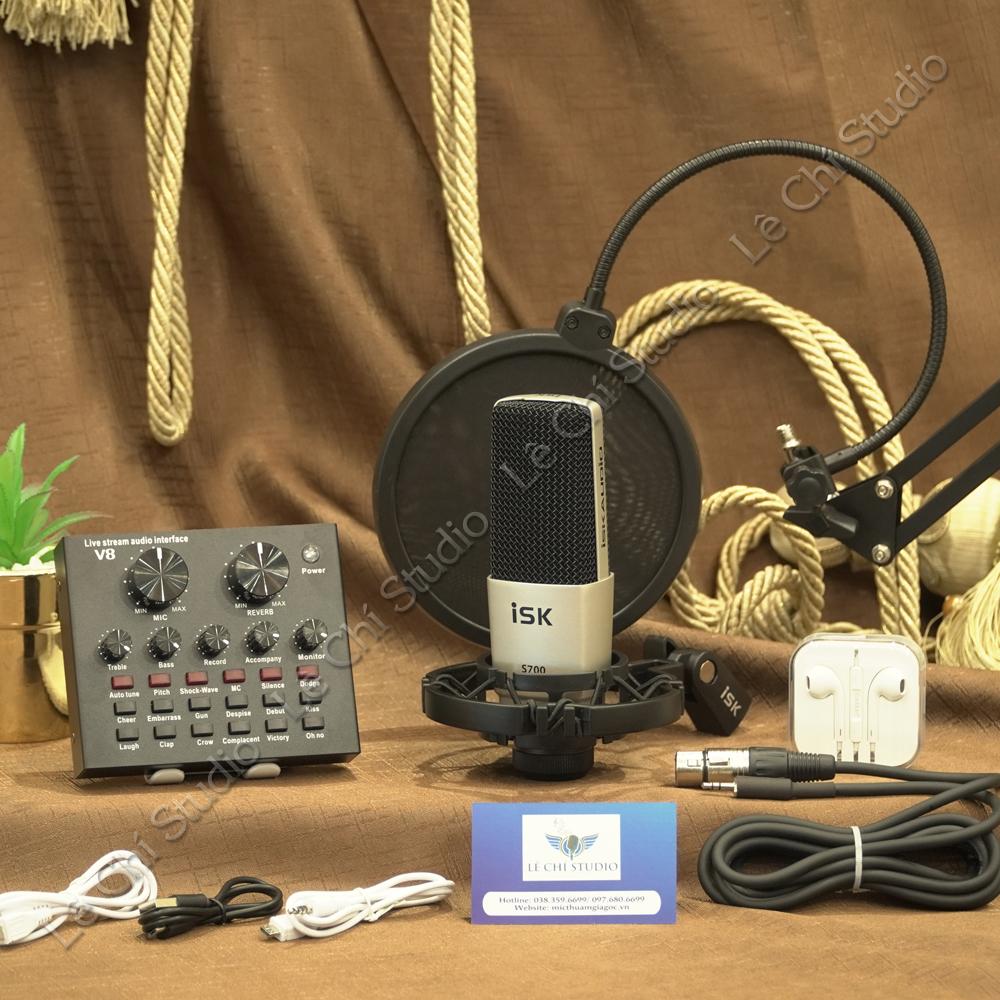 Combo Micro Thu Âm ISK S700 + Soundcard V8 Full Phụ Kiện - Giá 1.850K