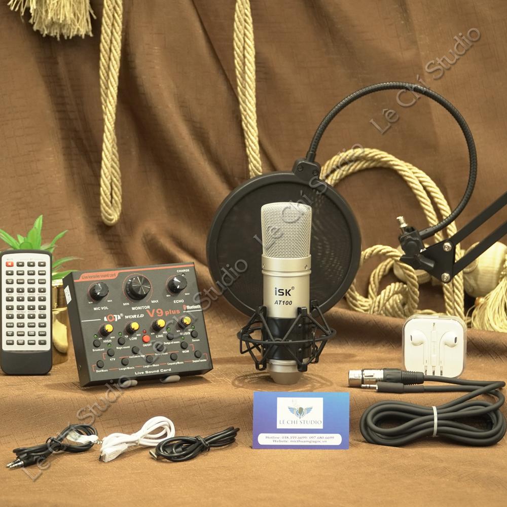 Combo Micro thu âm ISK AT00 + Soundcard V9 Full Phụ Kiện - Giá 1.350K