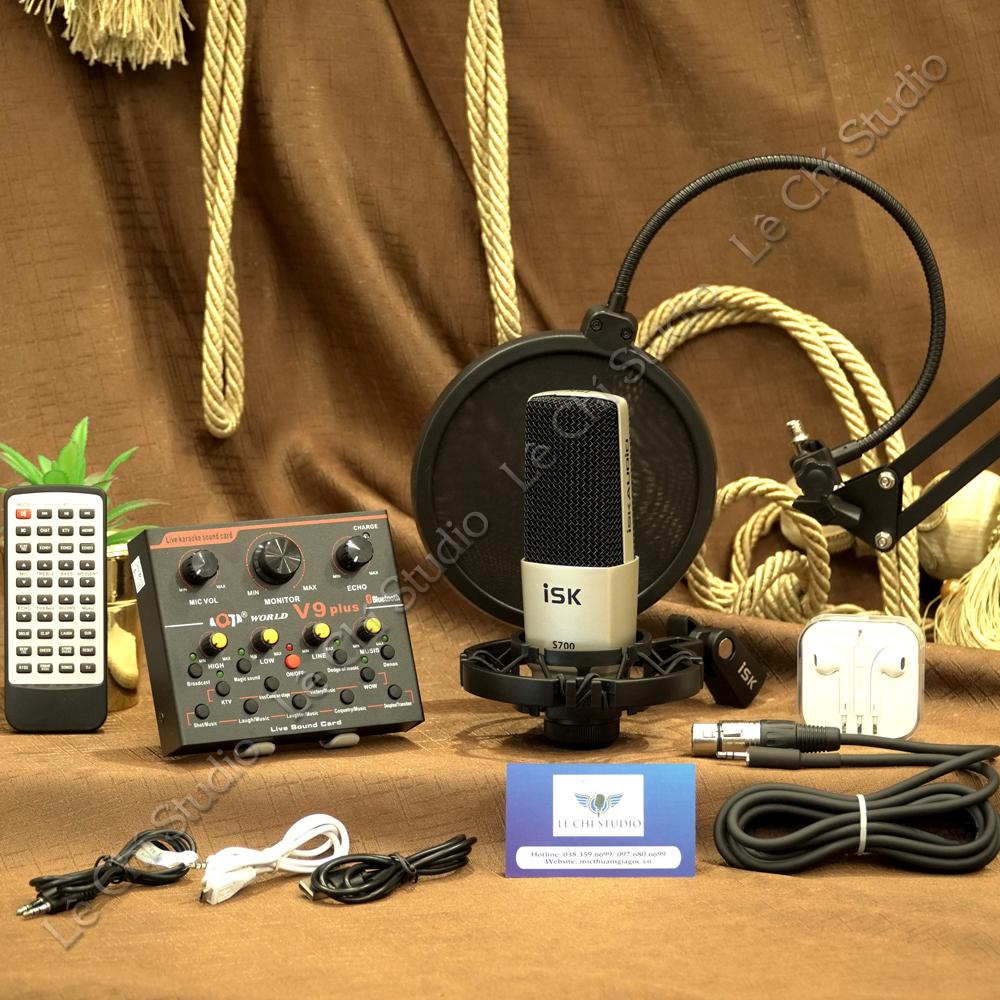 Combo Micro thu âm ISK S700 + Soundcard V9 Full Phụ Kiện - Giá 1.990K