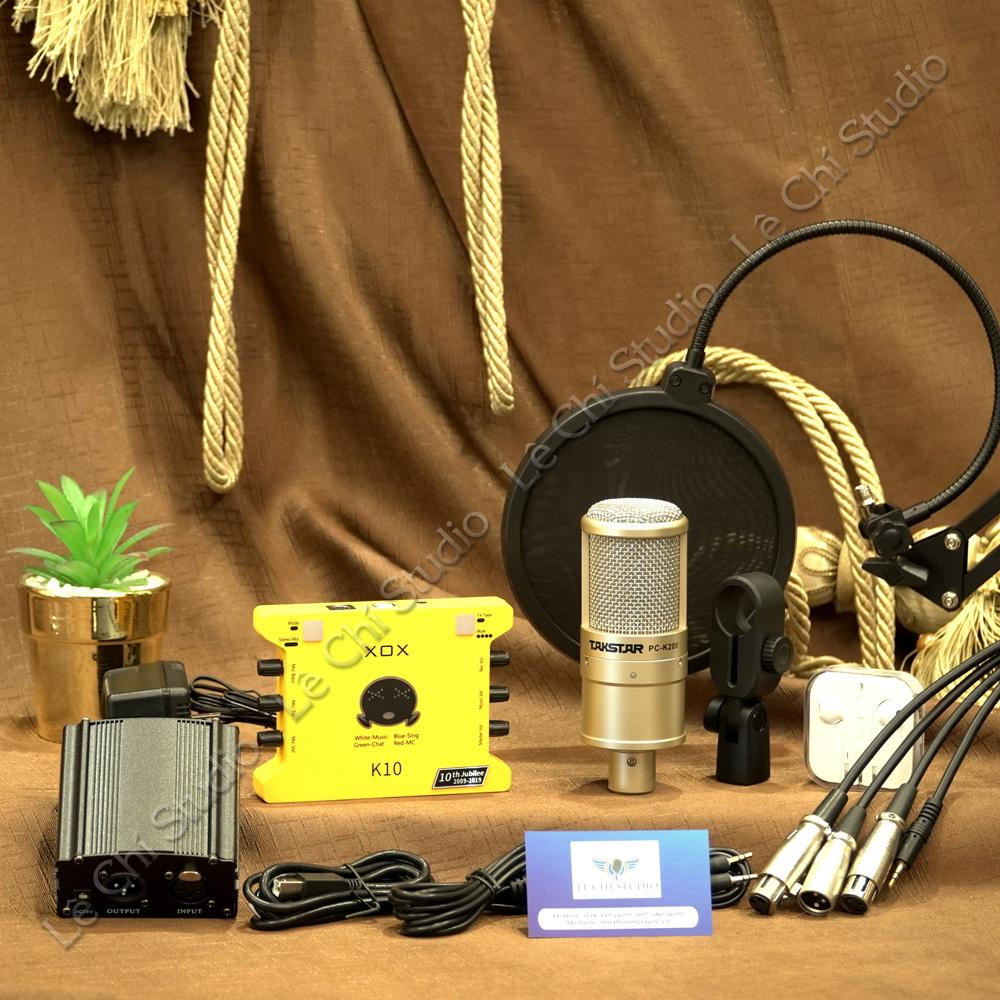 Combo Micro Thu Âm Takstar PC K200 + Soundcard K10 2020 Full Phụ Kiện - Giá 2.090K