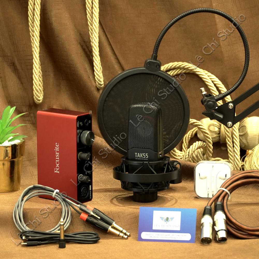 Combo Mic thu âm Takstar TAK55+ Soundcard Focusrite Solo Gen3 Full Phụ Kiện - Giá 6.590K
