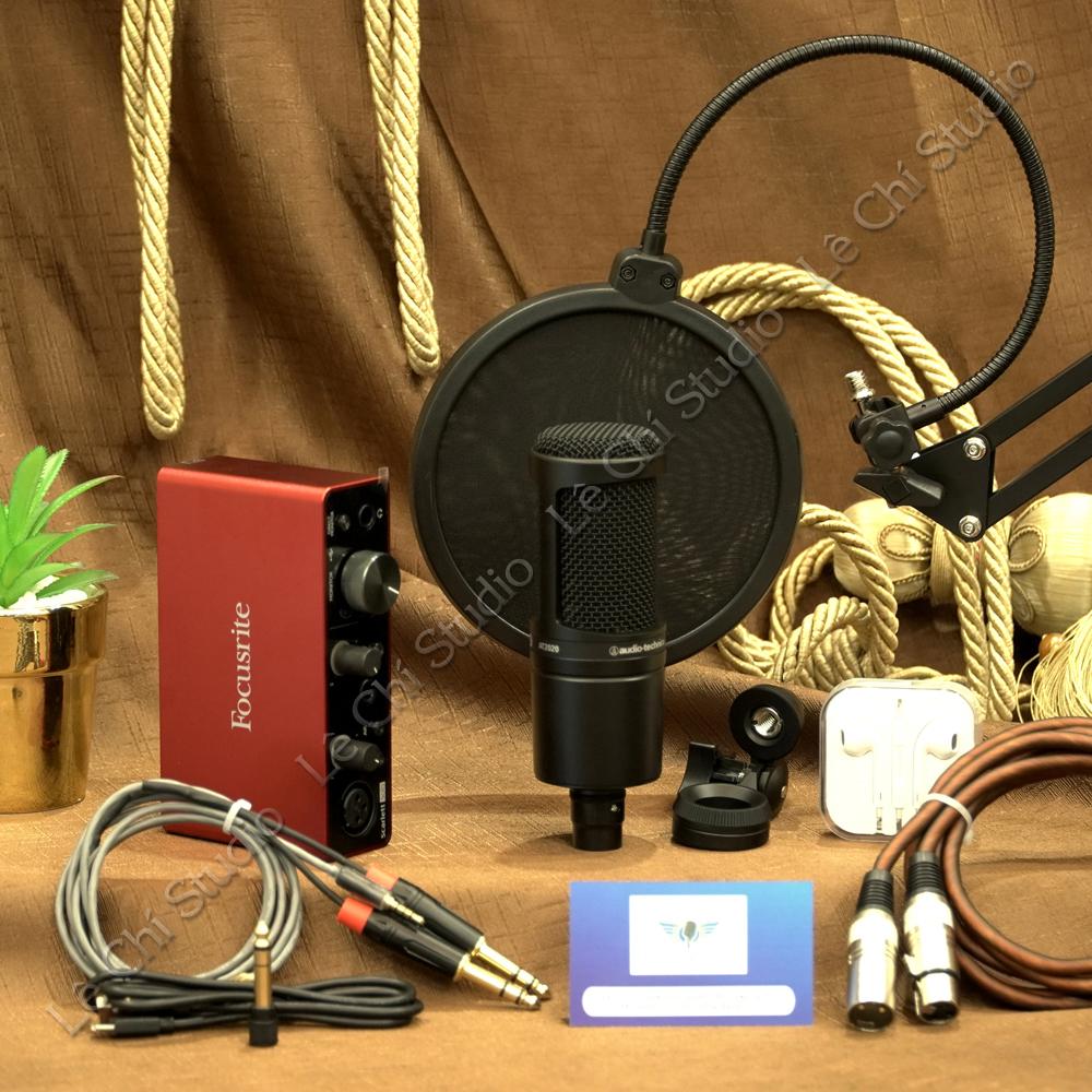Combo Micro thu âm AT2020+ Soundcard Focusrite Solo Gen3 Full Phụ Kiện - Giá 5.890K