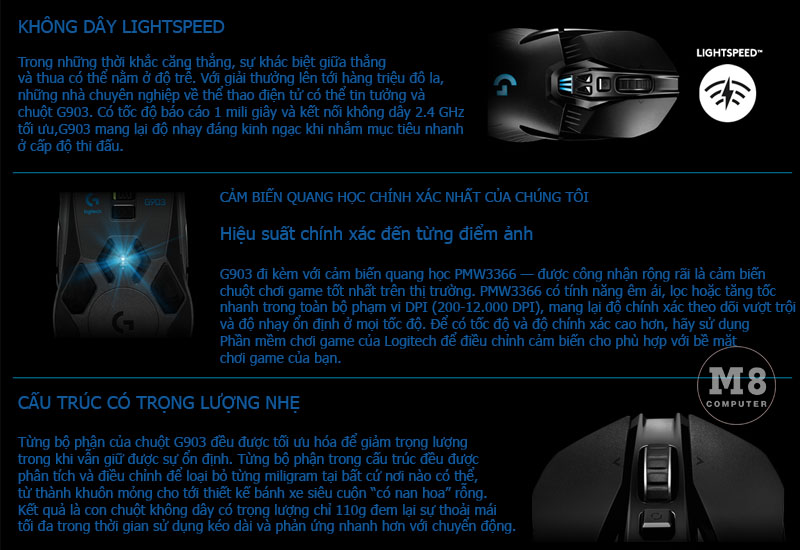 Chuột Logitech G903 Lightspeed Wireless Gaming 6