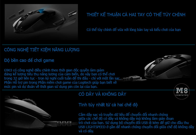 Chuột Logitech G903 Lightspeed Wireless Gaming 7
