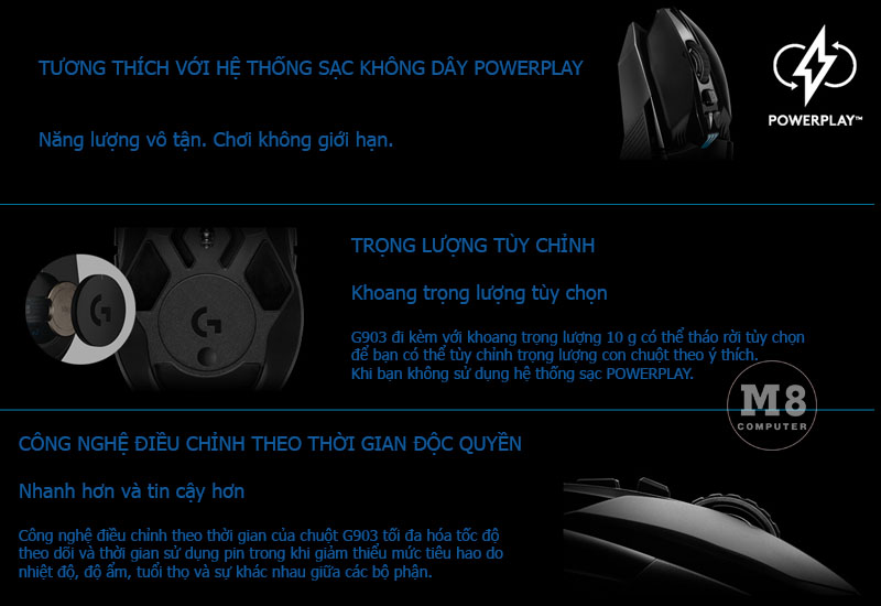 Chuột Logitech G903 Lightspeed Wireless Gaming 8