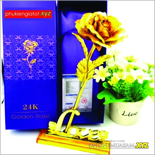Hoa hồng mạ vàng 24K chữ LOVE (có đế)
