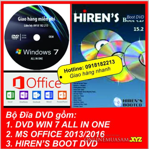 Bộ cài WIN 7 ALL IN ONE + Bộ DVD Cứu hộ +OFFICE  tự động