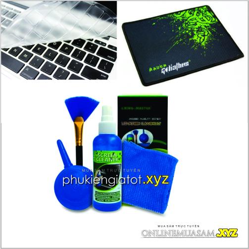 Bộ Combo 3 món: Mousepad_Bộ vệ sinh_Miếng dán bàn phím Laptop