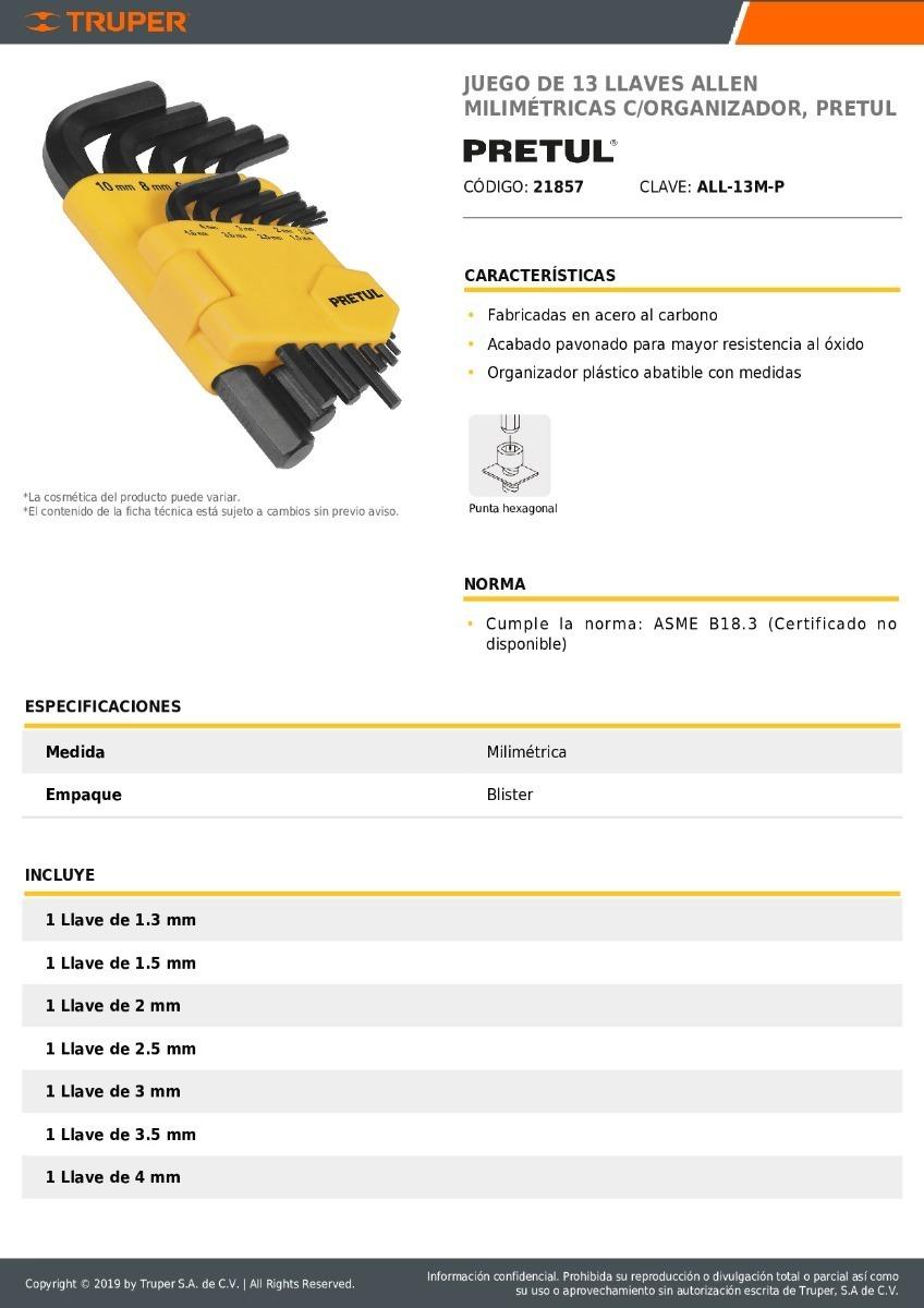 BỘ LỤC GIÁC 13 CHI TIẾT HỆ M, 1.3-10mm PRETUL - 21857(ALL-13M-P)