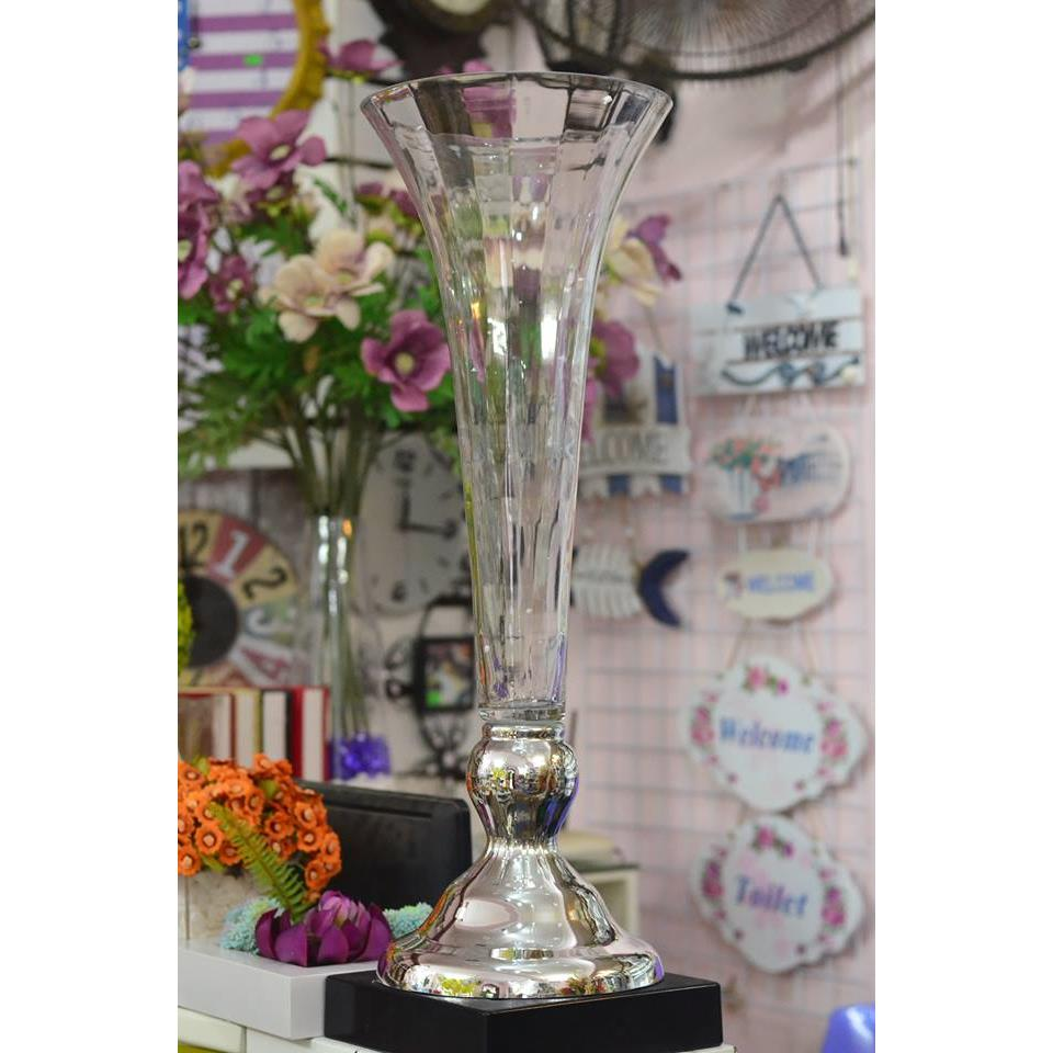 Bình TT ly miệng loe đế bạc cắm hoa sự kiện tiệc cưới (72cm) - TT0242