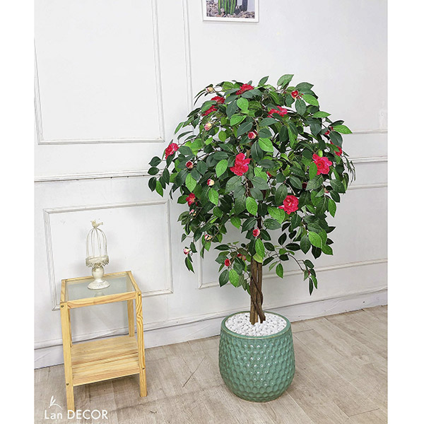 Cây hoa Đỗ Quyên đỏ trang trí Lan Decor 125cm - LC2239