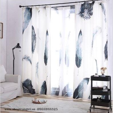 Rèm05-Bộ rèm 2 chi tiết họa tiết lông vũ KT 150x270 cm