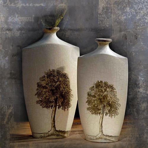 Bình gốm họa tiết cây cổ thụ ( to) - BC023