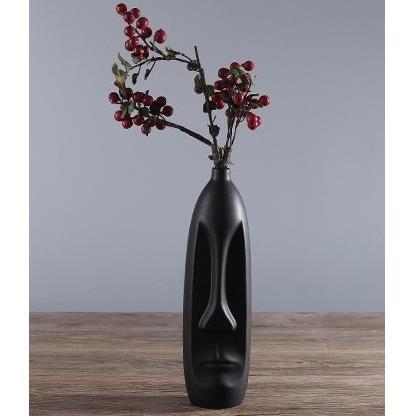 Bình gốm hình mặt trang trí màu đen (cao miệng hẹp) - MTT005