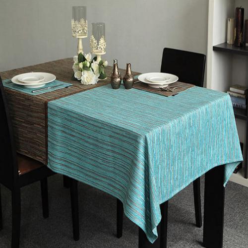 TB339 - Khăn trải bàn Vải gấm xanh phong cách Châu Âu