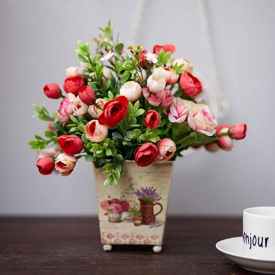 BH685 - Bình thiếc hoa trà