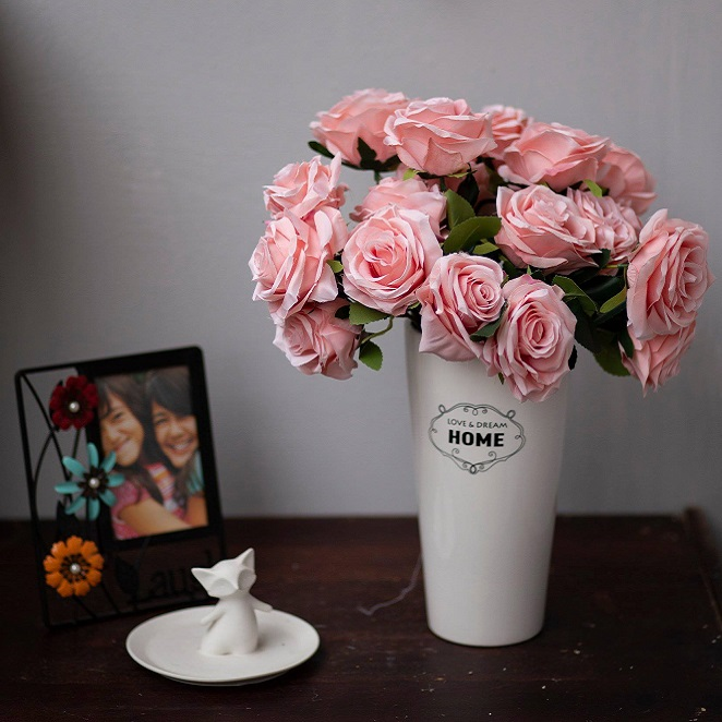 BH707 - Bình gốm hoa hồng