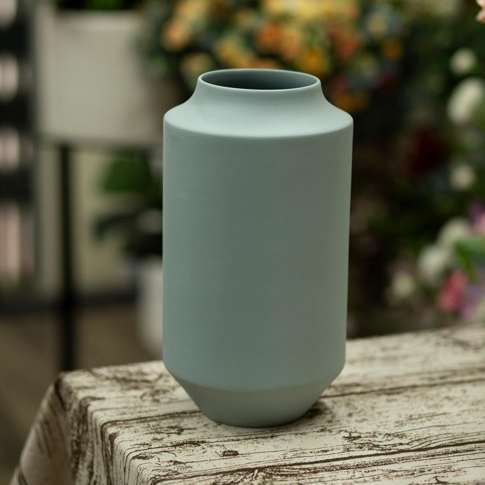 BG182 - Bình gốm trụ xanh nhạt