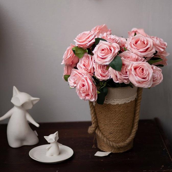 BH704 - Giỏ cuộn gai hoa hồng