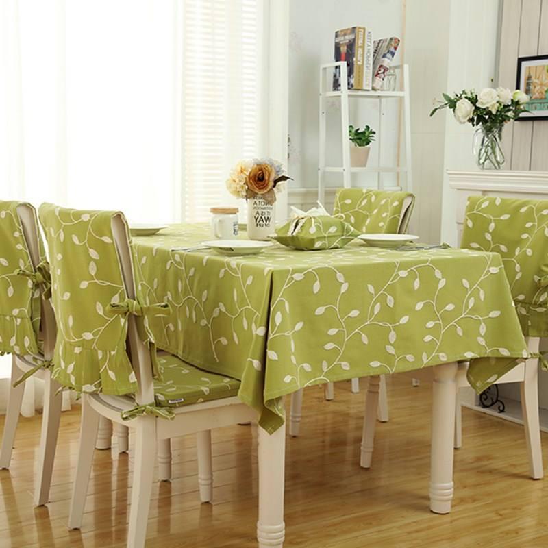 Khăn trải bàn lá thêu nền xanh cốm - TB323
