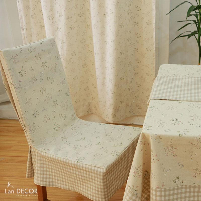 Áo ghế hoa dây nhí xanh- AG268