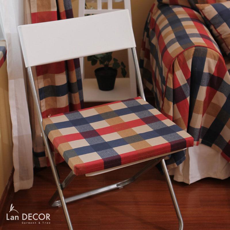 Đệm ghế kẻ caro xanh, đỏ, vàng - BMG276