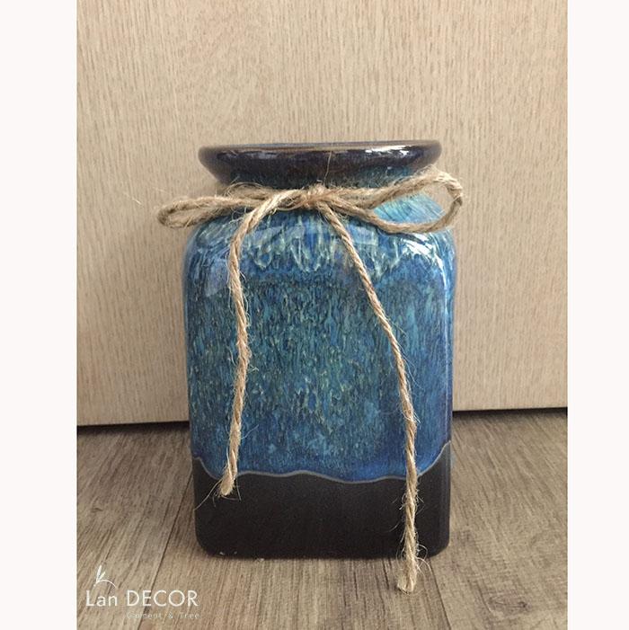 Bình gốm xanh lam hình trụ chữ nhật (16cm) - BG445