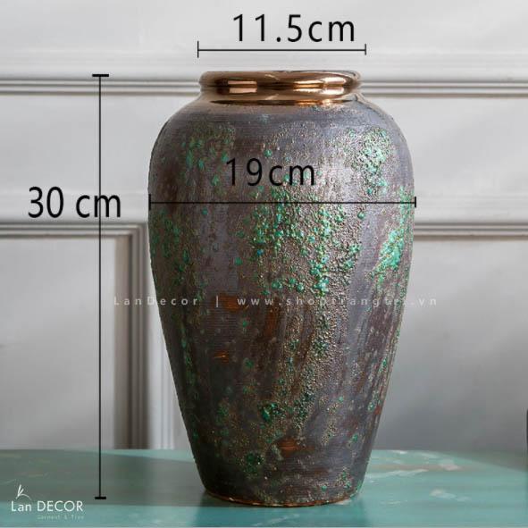 Bình gốm xanh lam thắt nơ (30cm) - BG450