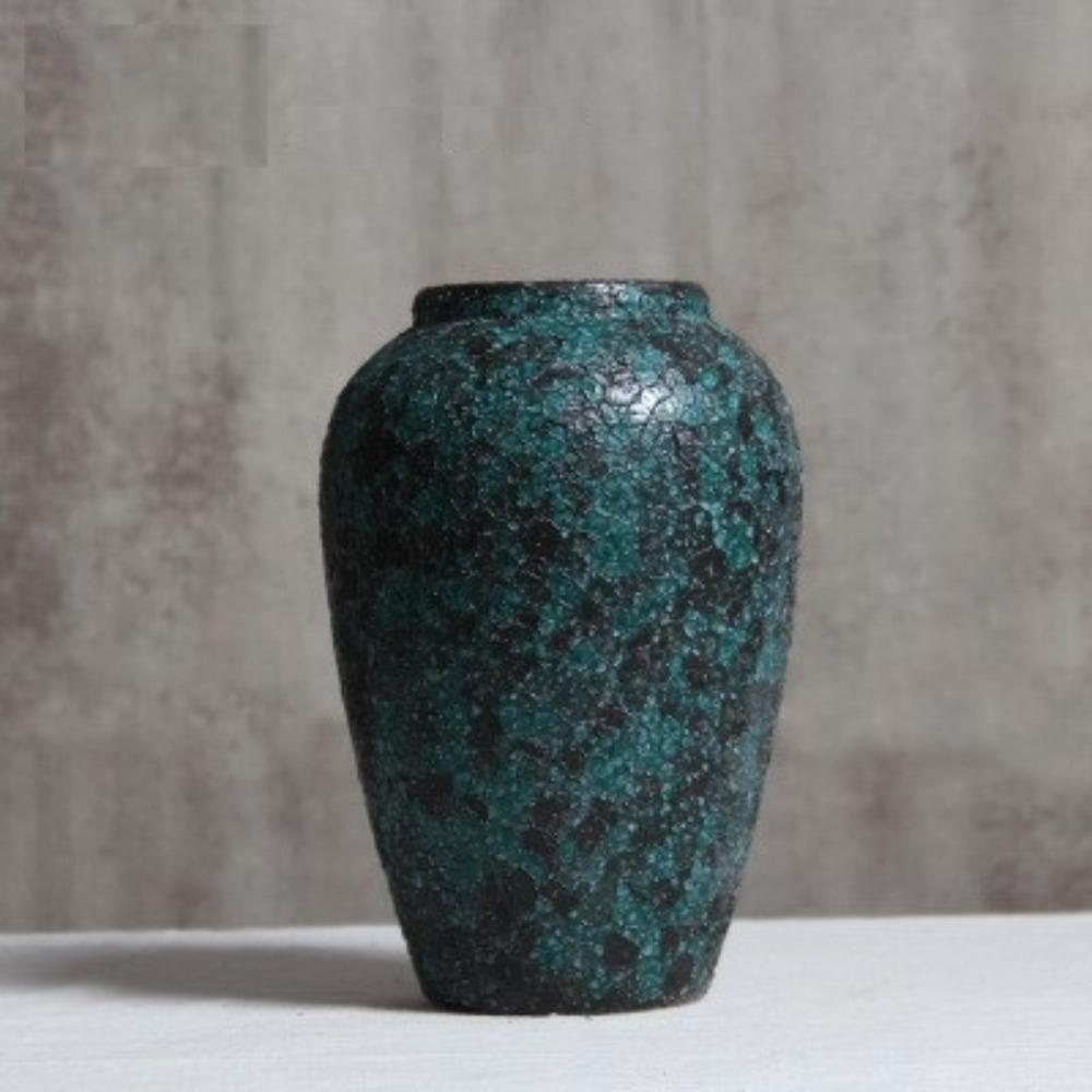 Bình gốm màu xanh, họa tiết nhám độc đáo cao 27cm - BG218