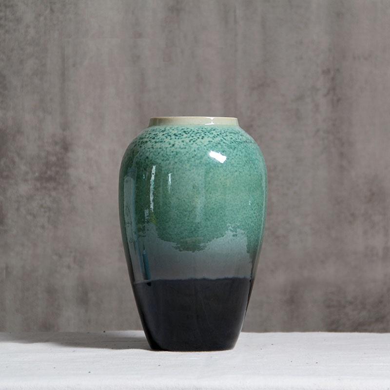 Bình gốm xanh ngọc men hỏa biến, cao 27cm - BG219