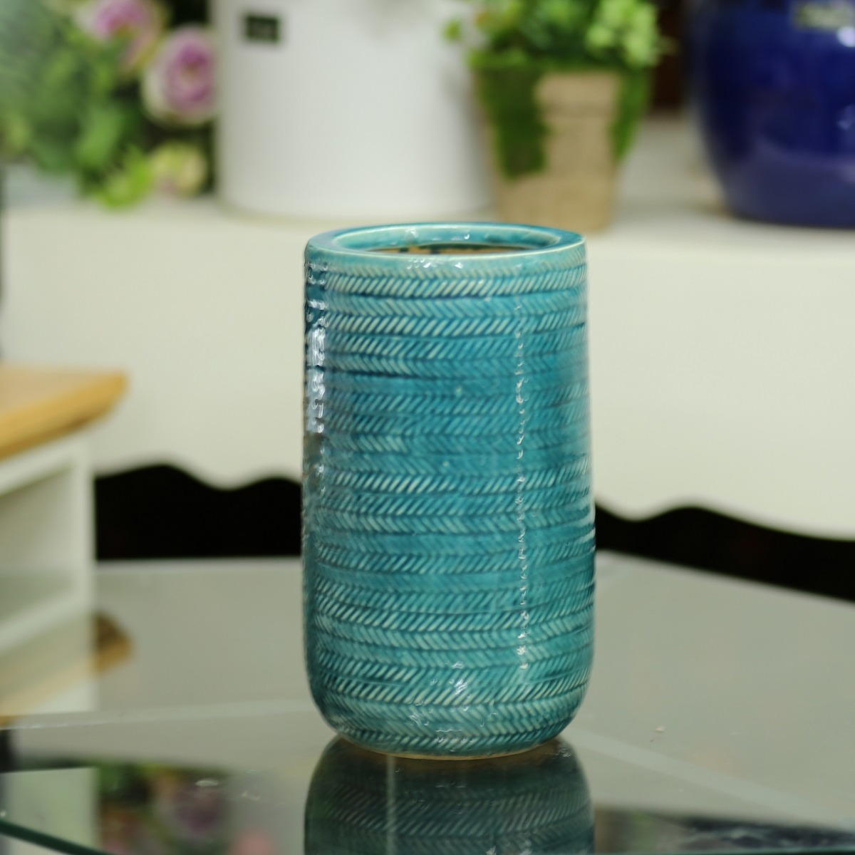 Bình gốm xanh vân chéo - BG212