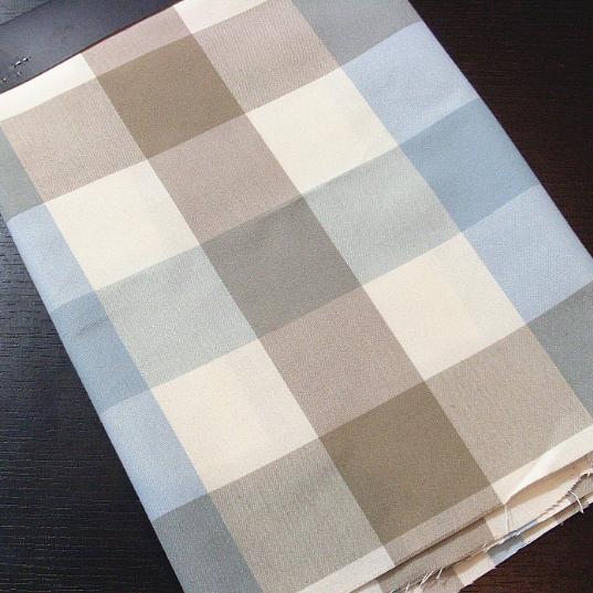 TB369 - Vải Canvas kẻ caro xanh, xám, trắng