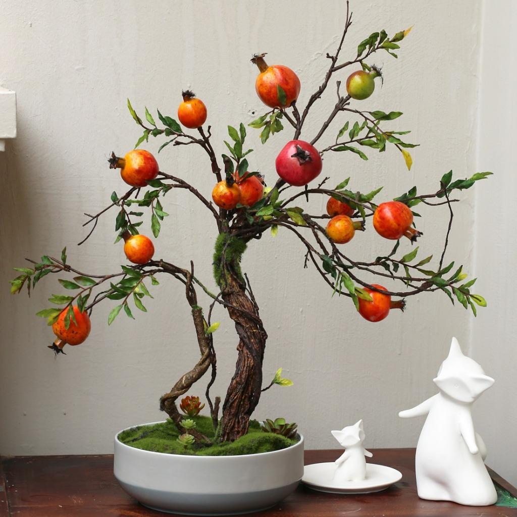 Chậu lựu Bonsai cây cảnh trang trí nội thất (65cm) - CC083