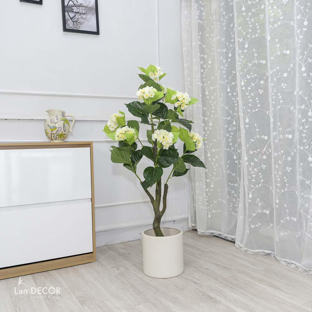 Cây hoa tú cầu trắng trang trí nhà sang trọng Lan Decor 1,3m - LC3008