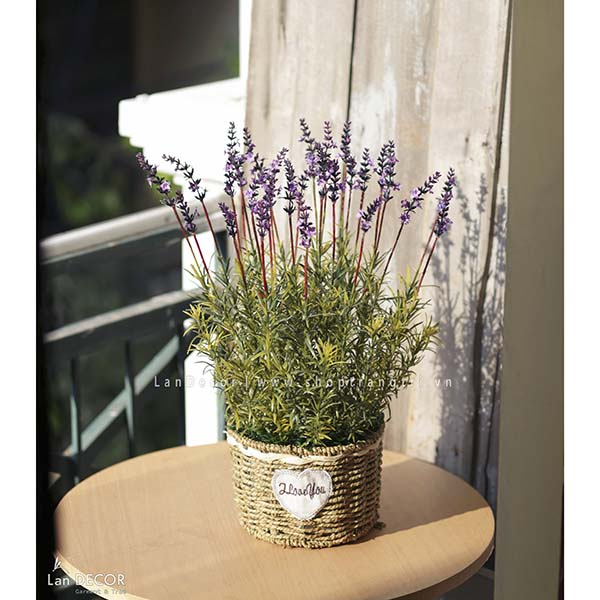 Giỏ hoa lavender trang trí vintage Lan Decor - CC313