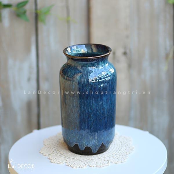 Bình gốm xanh bích hình trụ tròn (27cm) - BG443