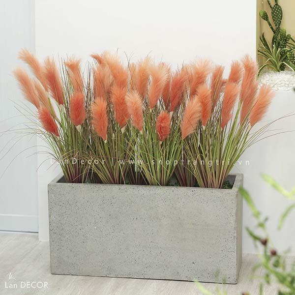 Bồn cỏ lau sậy hồng cam trang trí ban công, sảnh độc đáo Lan Decor - BC056