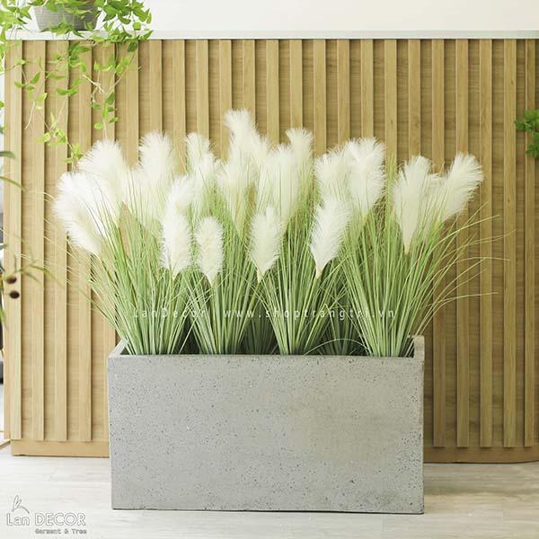 Bồn lau sậy trắng trang trí tiểu cảnh phong cách vintage Lan Decor - BC055