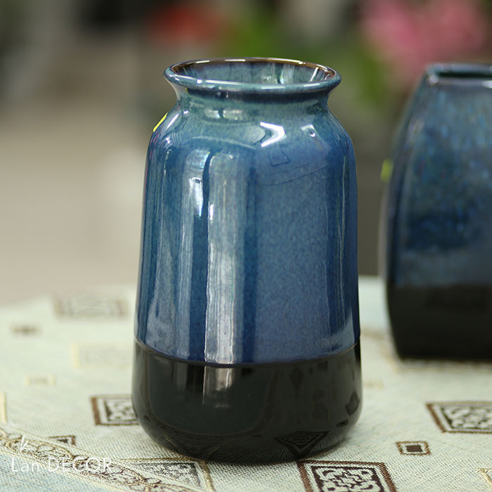 Bình gốm xanh lục hình trụ (24cm) - BG448