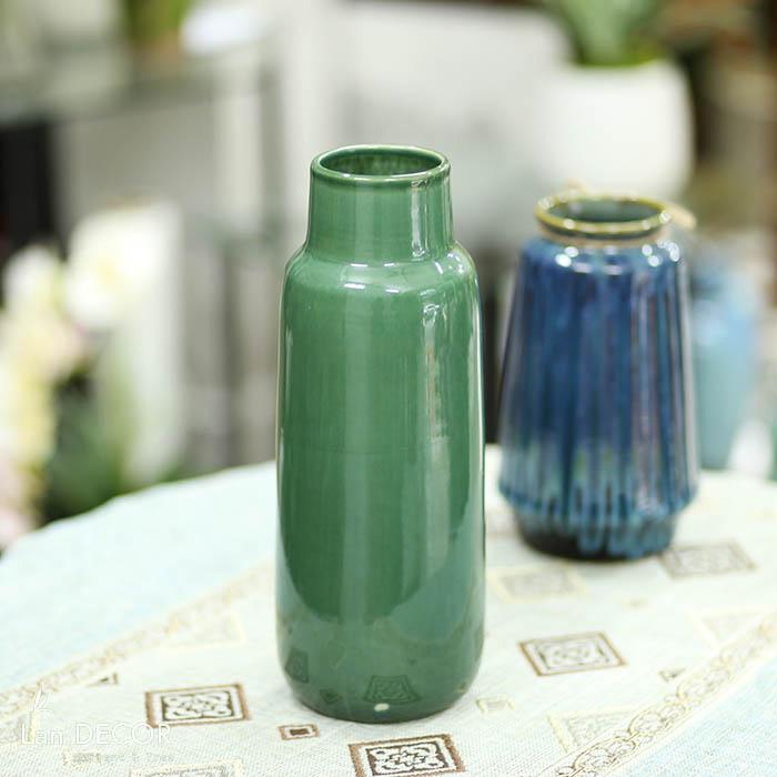 Bình gốm trụ cổ cao xanh ngọc bích  (31.5cm) - BG460