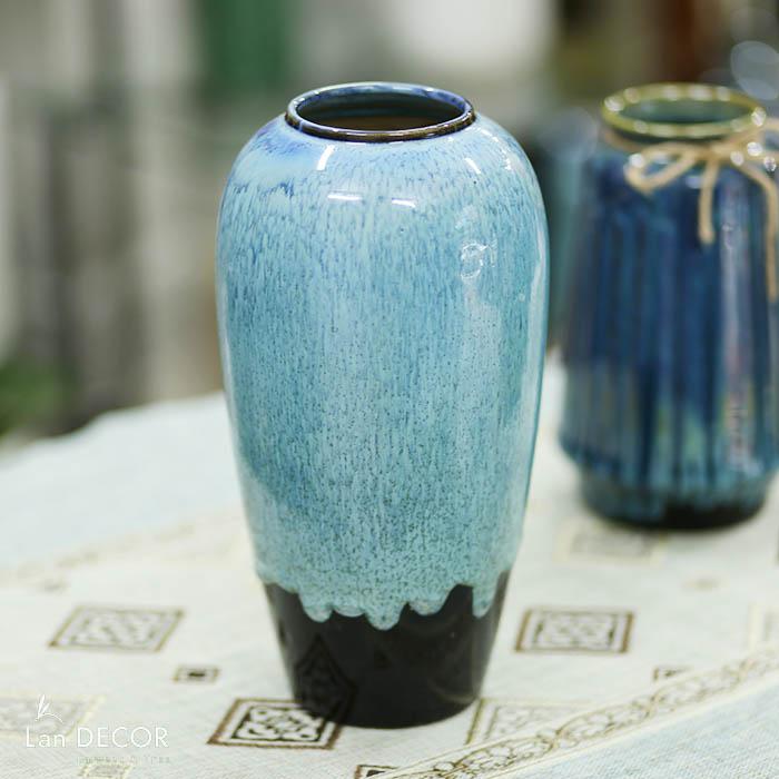 Bình gốm xanh lục vân đá (30cm) - BG454