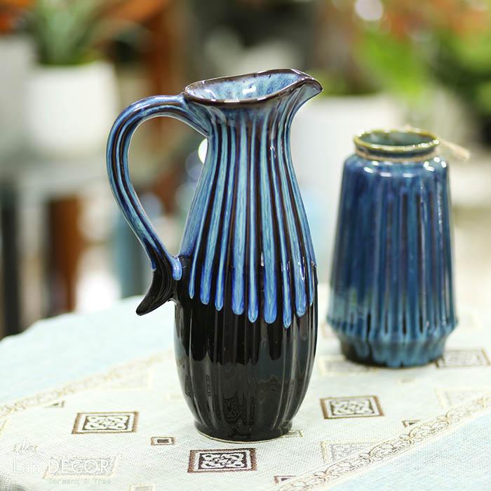 Bình gốm gốm giọt nước có quai xanh lam  (30cm) - BG461