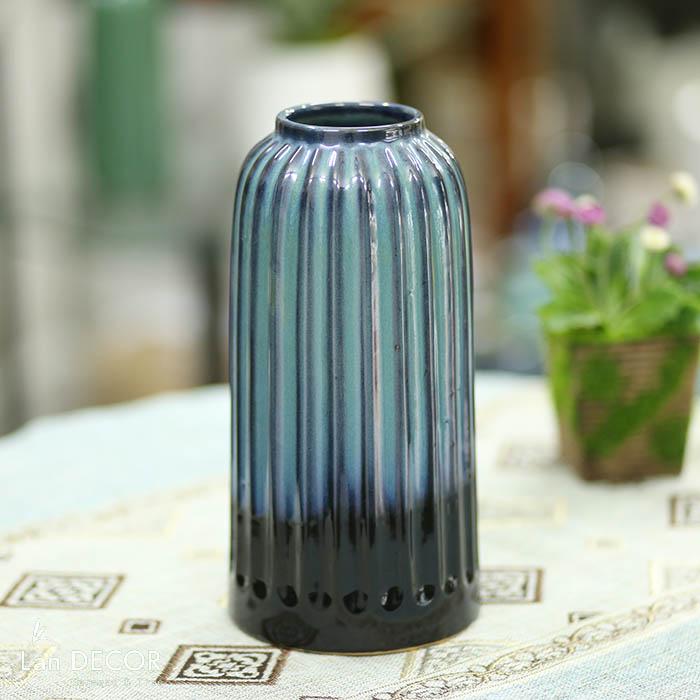 Bình gốm hình trụ cổ chun (28cm) - BG456