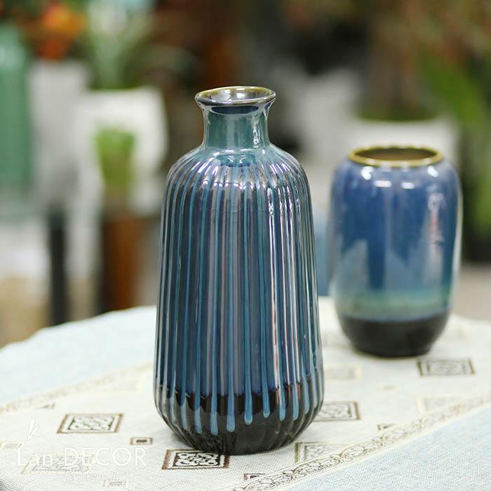 Bình gốm cổ lọ xanh ngọc (33cm) - BG463